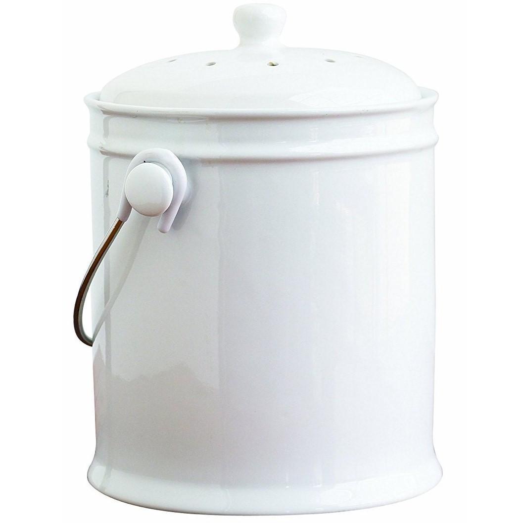 Amazon.com: Natural Home 1-Gallon Ceramic Compost Bin with Filter ...