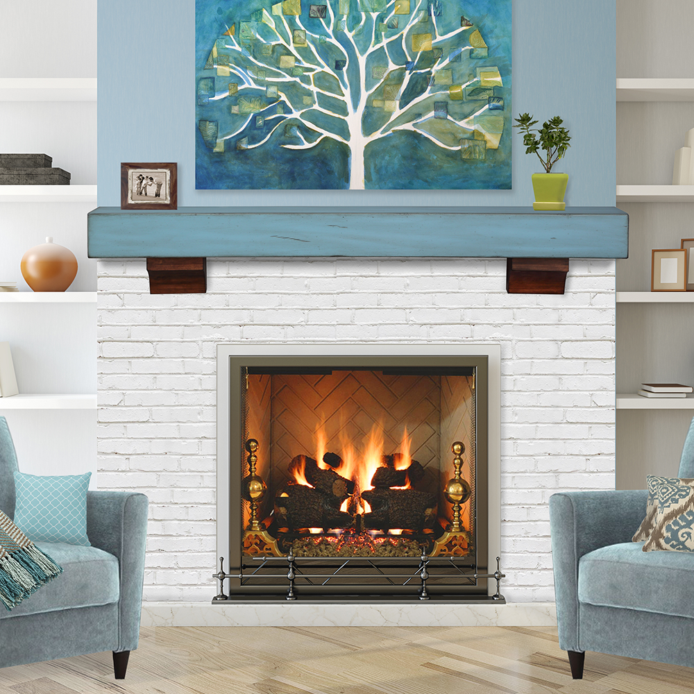 Fireplace Floating Mantle Accent Wall Color: Pearl Mantels 412-48-70 Shenandoah Pine Wall Shelf, 48