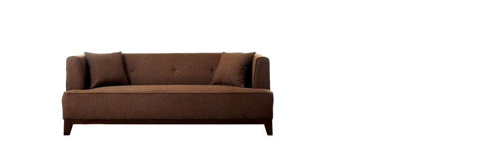 Furniture of America Elsa Neo-Retro Sofa, Brown