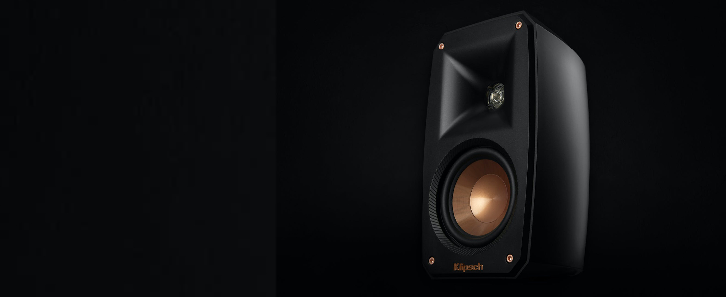 Klipsch Reference Theater Pack satellite speaker with copper cone and Tractrix horn on black