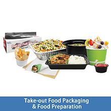 Karat take-out food packaging and food preparations
