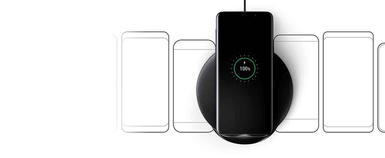 Samsung Cargador inalámbrico - Wireless Charger EP N5100T compatible con smartphones QI, negro- Version española