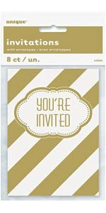 amazon com golden birthday party invitations 8ct kitchen dining