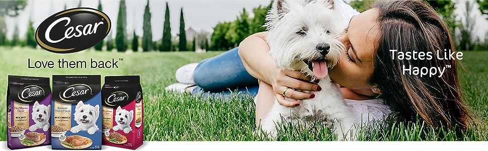Cesar Dry Dog Food, Love Them Back, Tastes Like Happy, Small Breed Dry Dog Food, Dog Food Kibble