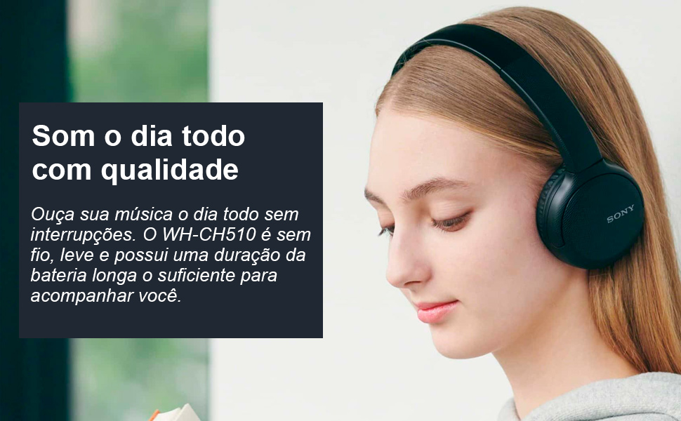 Headphones sem fio WH-CH510 Sony