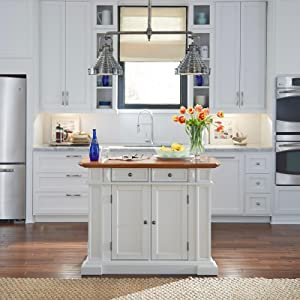 Amazon.com: Home Styles 5002-94 Kitchen Island, White and ...