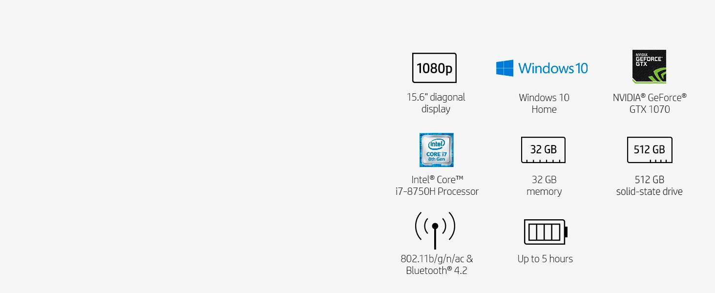 15.6 inch display Windows 10 NVIDIA GeForce GTX 1070 Intel Core i7-8750H 32gb 512gb bluetooth 4.2