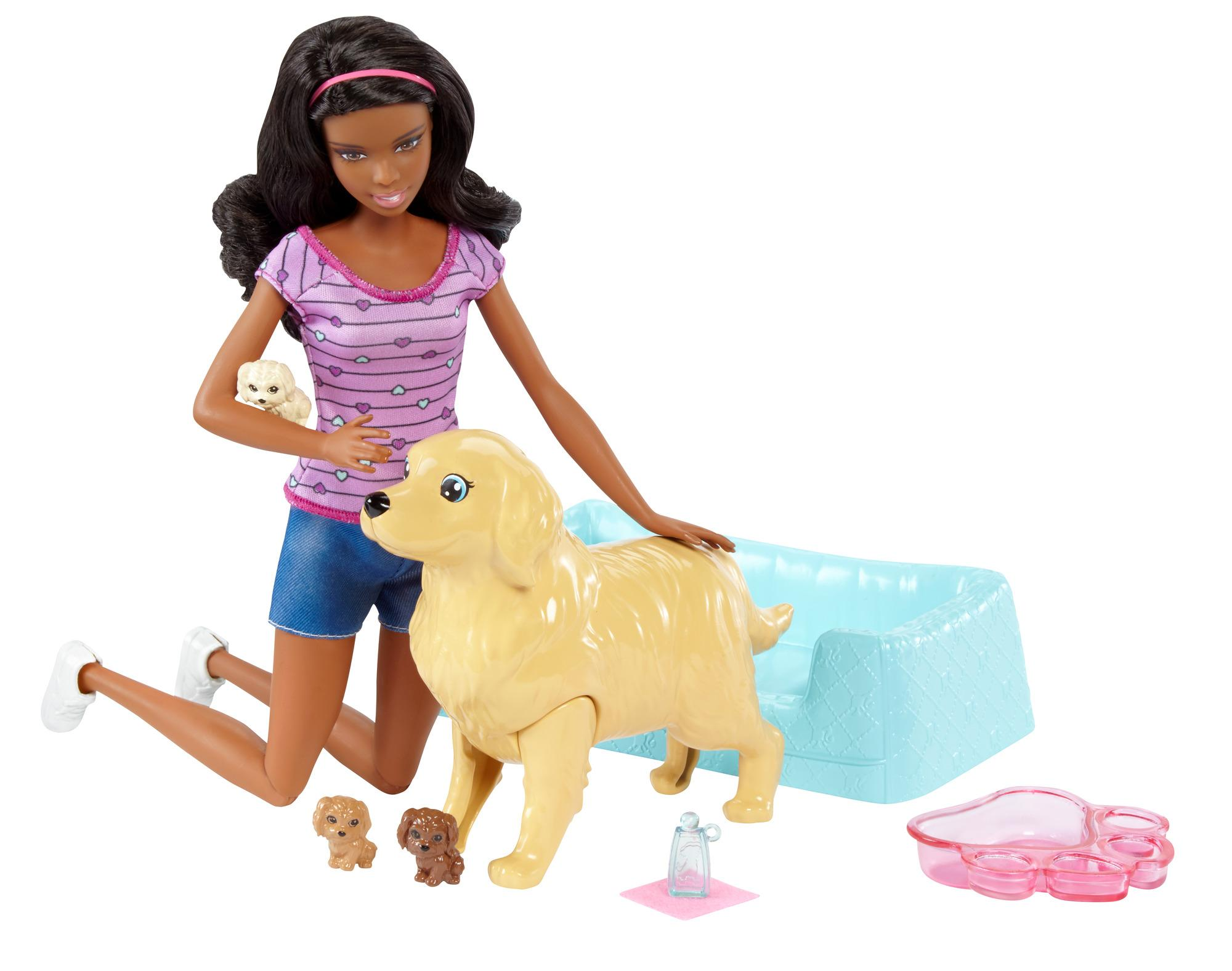 Amazon.com: Barbie Newborn Pups Doll & Pets Playset