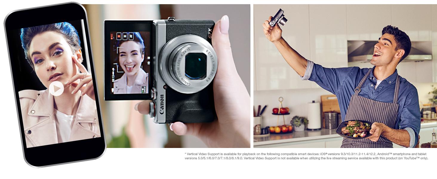 G7X Mark III, Vertical Video, 4K, Vlogging, Flip Screen, Compact camera, Canon