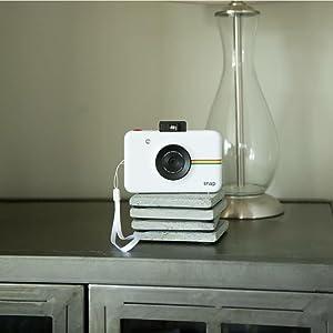 minimalist design white instant camera