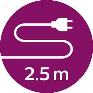 2.5m cord for longer reach