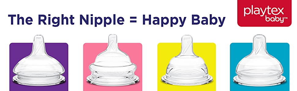 Compatible with all Playtex Baby Bottles Medium Flow Playtex Baby Silicone Baby Bottle Nipple Variety Pack Pack of 4 Nipples