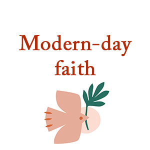 """""""Modern-day faith"""" image of dove with fig leaf in it's beak."""
