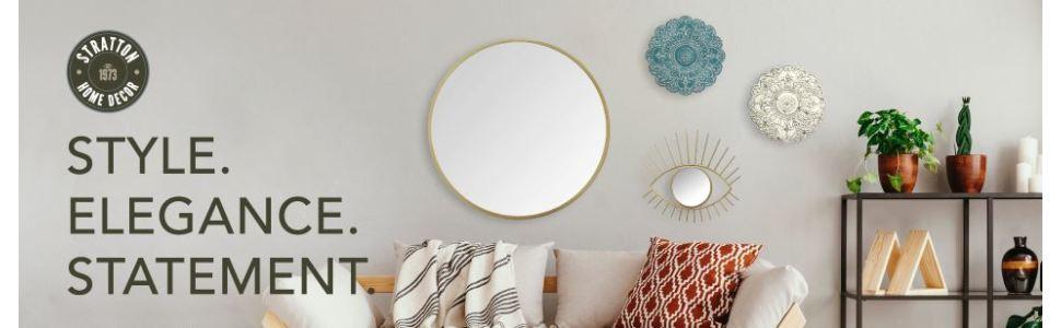 Amazon Com Stratton Home Decor Shd0144 Bella Wall Mirror 20 00 W X 1 00 D X 20 00 H Gold Home Kitchen