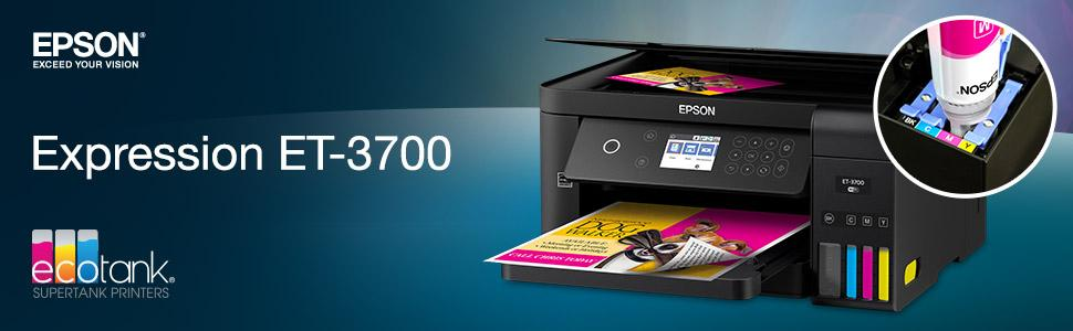 Epson Expression ET-3700 EcoTank Wireless Color All-in-One Supertank Printer with Scanner, Copier and Ethernet (Renewed)