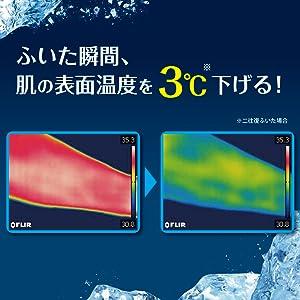 ふいた瞬間、肌の表面温度を3℃下げる。