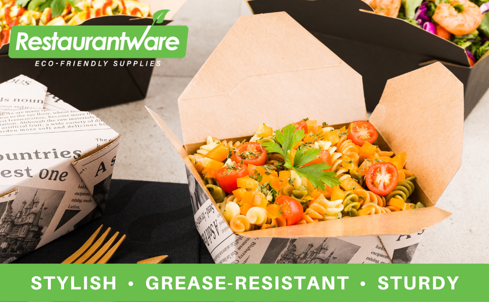 These food paper containers are grease-resistant to prevent unsightly, oily smudges.