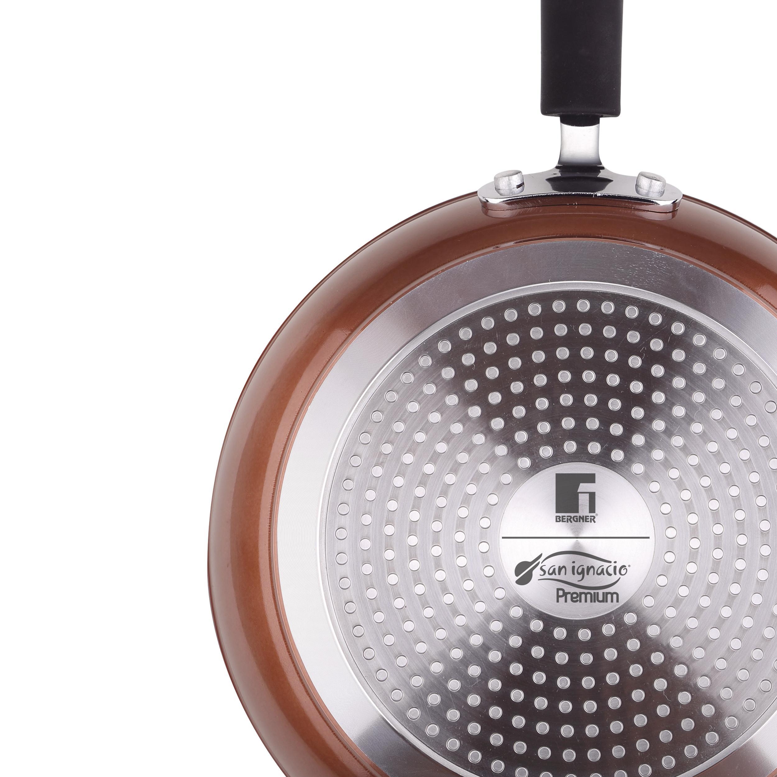 San Ignacio - Sartén Ø24 x 4,7 cms. aluminio forjado, color cobre metalizado, mango revestido con silicona, inducción
