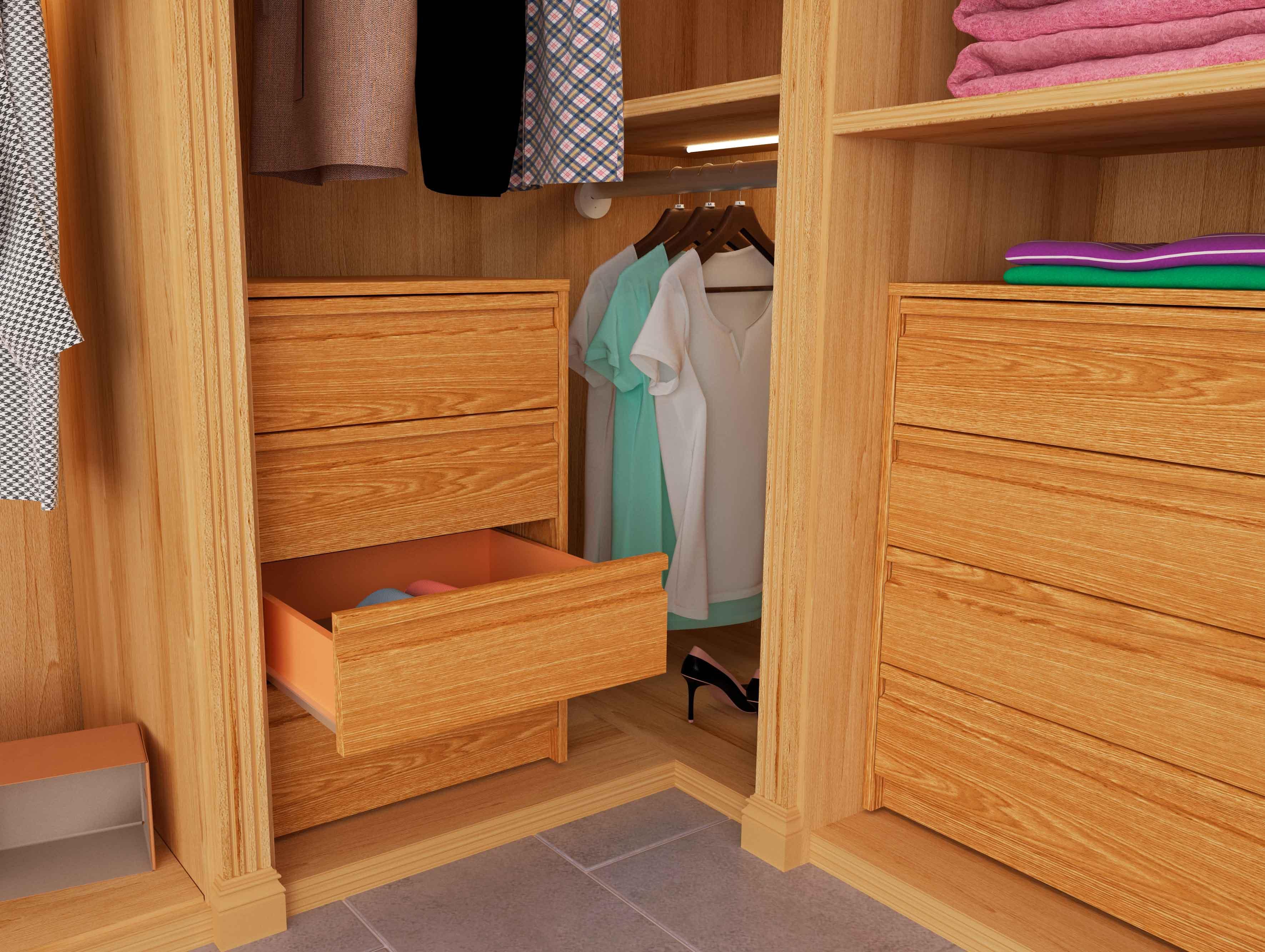 Samblo kai cajonera de melamina con 4 cajones roble 45 x 50 x 73 cm hogar - Cajonera interior armario ...