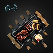 raclette avec surface grill pour griller légumes, viande ou poisson.
