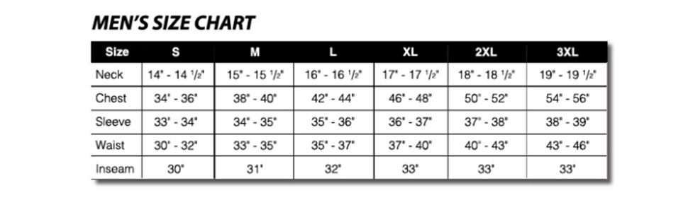 rivers west menswear size chart