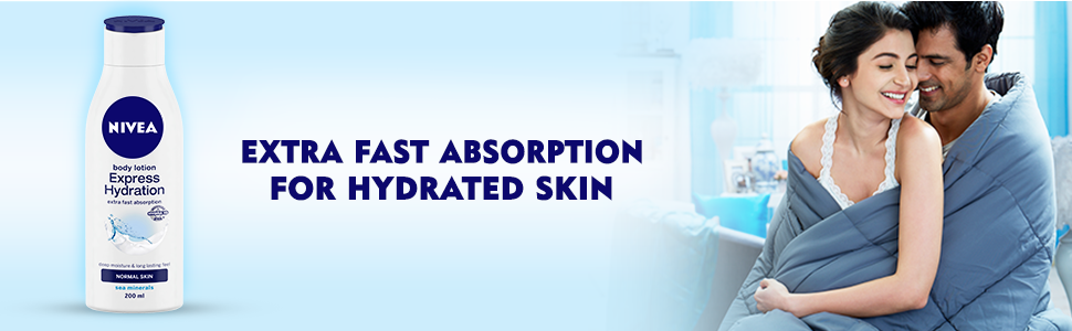 NIVEA EXPRESS HYDRATION BODY LOTION bottle with Anushka Sharma