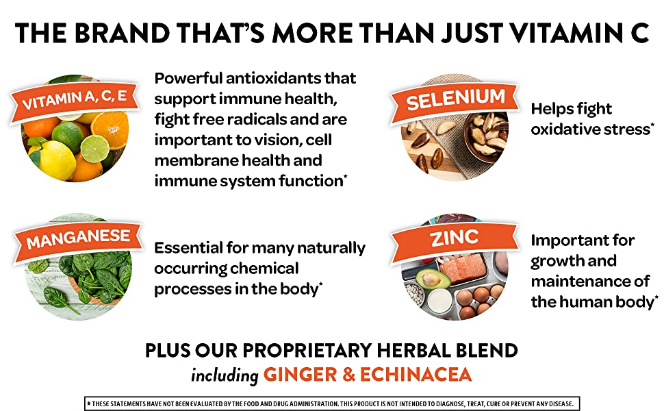 Airborne, the brand that is more than just Vitamin C.  Includes Vitamins A & E, Zinc, and more!