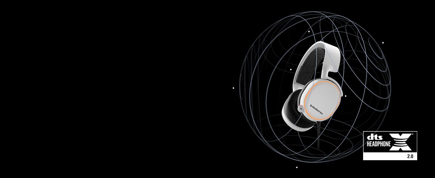 - Arctis 5 DTS لتصور الصوت المحيطي حول سماعة الرأس