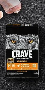 Crave Adult Dry Dog Food Chicken Flavor, Real Chicken 1st Ingredient, Kibble, Grain Free