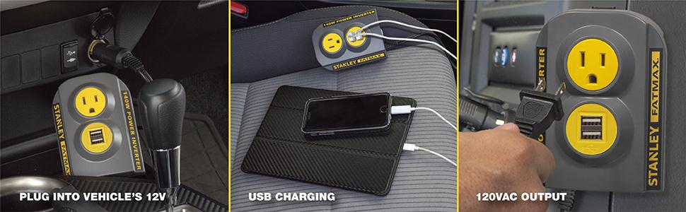 plug into vehicle 12V outlet, USB charging ports, 120V AC output