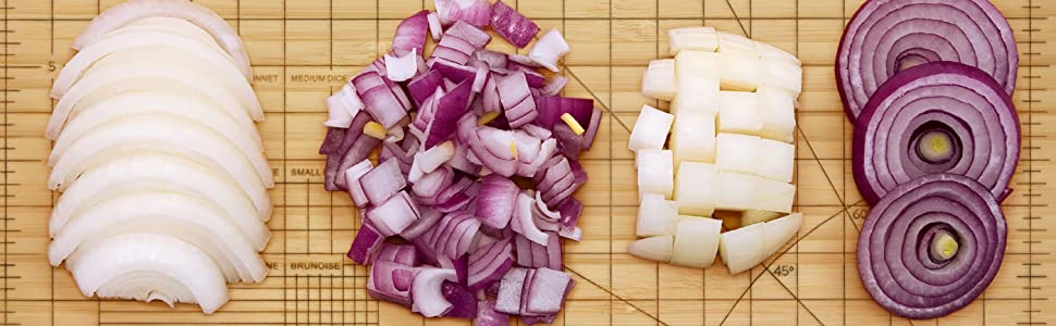 obsessive, chef, cutting, board, onion, knife, fred, fred and friends, grid, precise, chop, kitchen