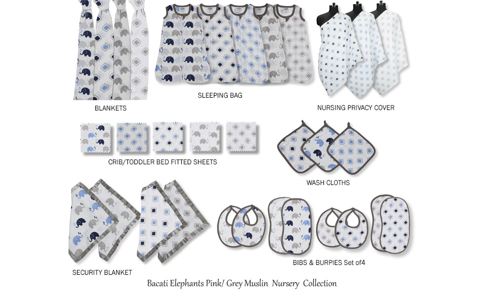 Bacati Elephants Blue/Navy/Grey Muslin Collection