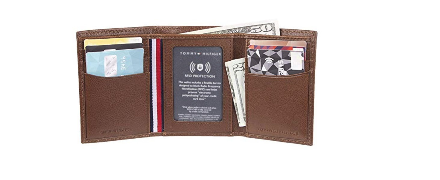 tommy hilfiger trifold mens leather wallet