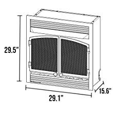dimensions, fireplace, insert, ventless
