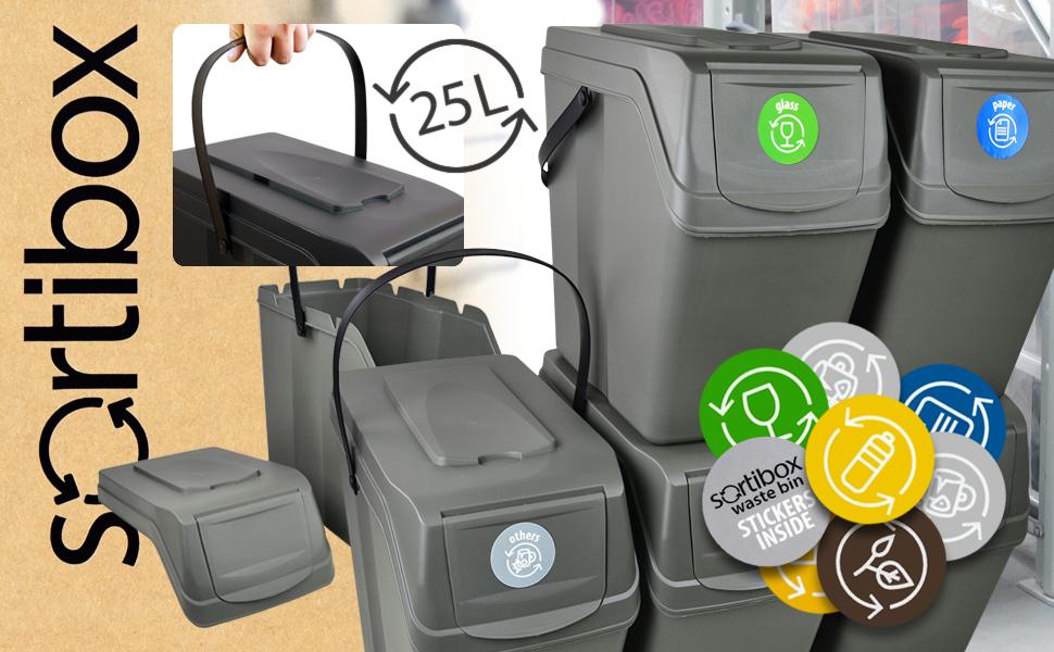 Prosperplast Juego de 4 Cubos de Reciclaje Sortibox de plastico en Color Antracita 2x35L y 2x25L 2 Grandes 2 peque/ños