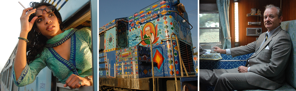 Scenes from The Darjeeling Limited - a decorated train, an out the window glance, and Bill Murray