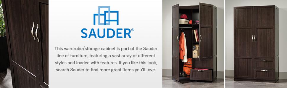 Amazon.com: Sauder Large Storage Cabinet, Cinnamon Cherry Finish ...