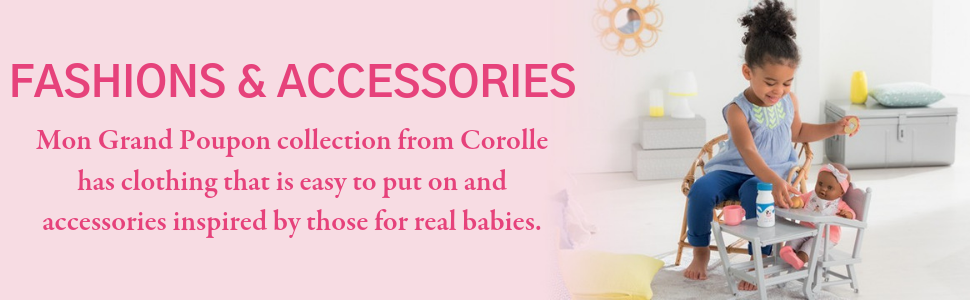 """Corolle, Premium Dolls, Clothing, Accessories, 14"""", 17"""", inch, toys, feeding, stroller, outfits"""