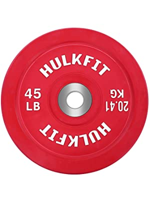HulkFit Color Coded Olympic 2-Inch Rubber Bumper Plate