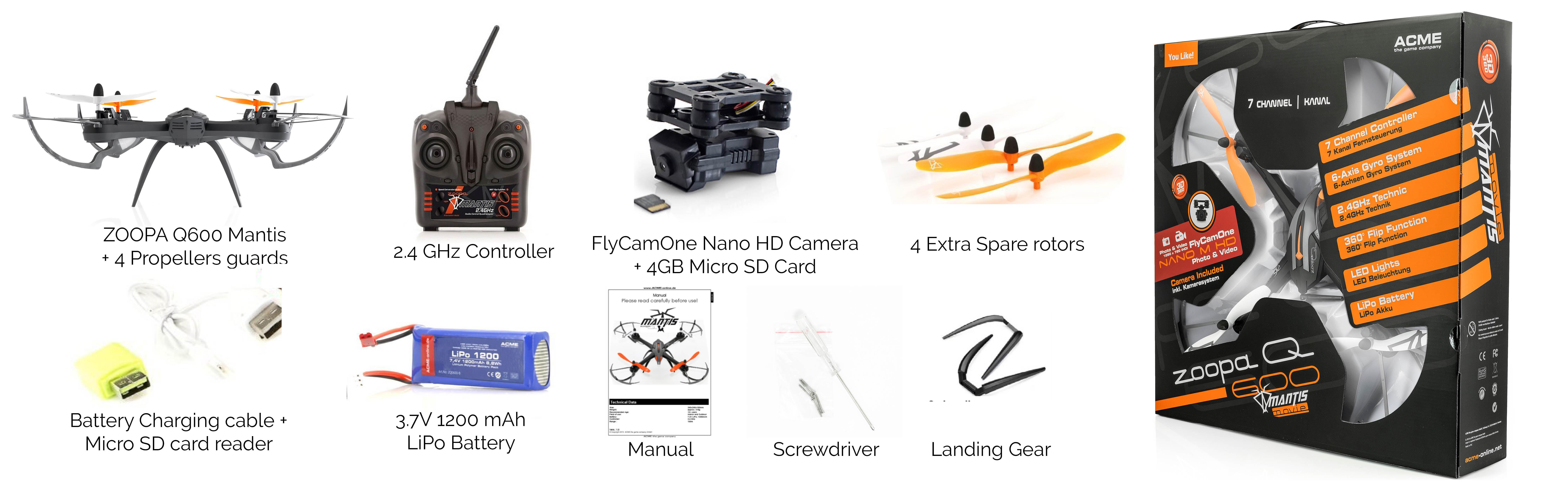 ACME Drone zoopa Q600 Mantis Quadrocopter 360° Flip LED 2.4GHz 4+3-Kanal 1200mAh