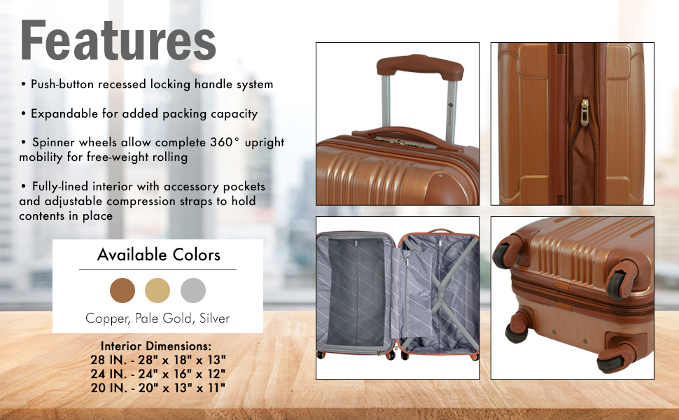Polaris collection, metallic series, 28 inch, 24 inch, 20 in, carry on, travel, travelers club, fun