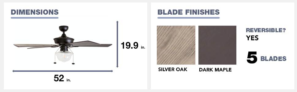 fan dimensions, blade finish, silver oak, dark maple, 5 blades, reversible, yes, 52 in, 19.9