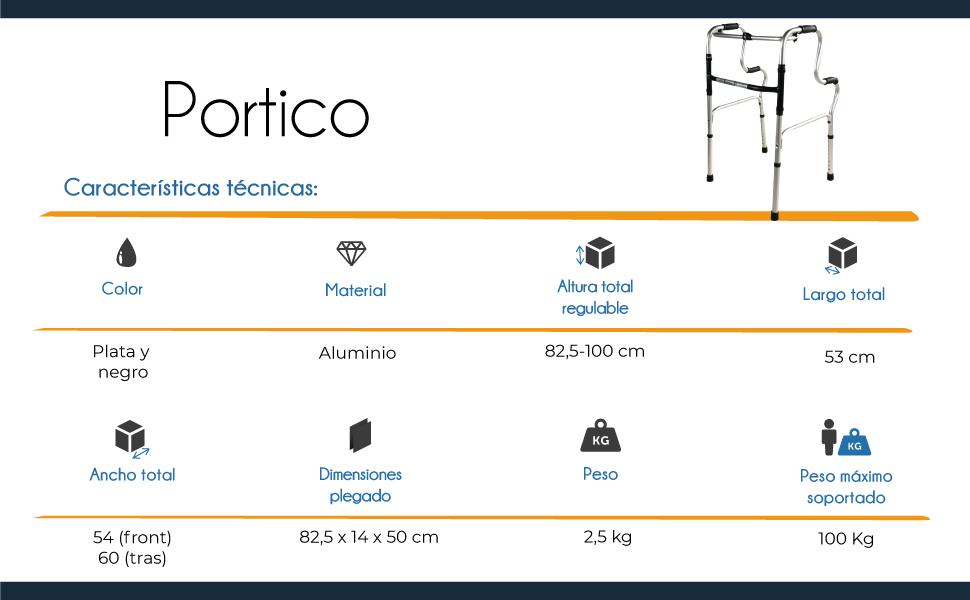 Mobiclinic, Modelo Pórtico, Andador para ancianos, adultos, mayores o minusvalidos, de aluminio, ligero, plegable, con asiento y sin ruedas