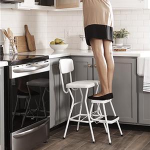 Amazon Com Cosco White Retro Counter Chair Step Stool