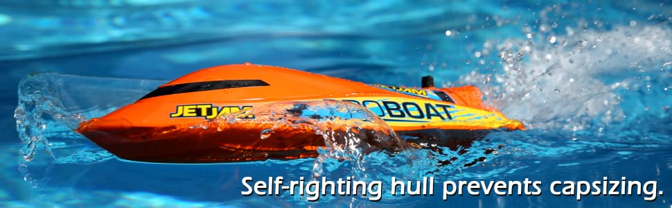 Self-righting hull on Jet Jam flips it upright if you tip or capsize.