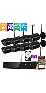 security camera system wireless 1080p