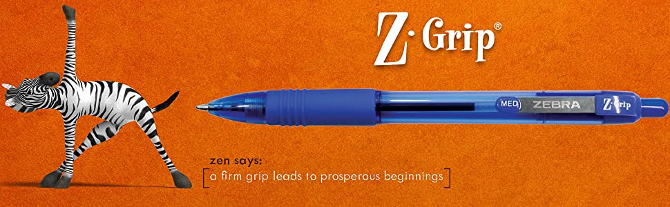 z-grip collection from zebra pen, z-grip brand banner, z-grip tagline, find zen in your zebra pen