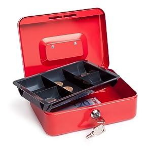 Rapesco money Caja fuerte portátil de 20 cm de ancho con portamonedas interior, color rojo: Amazon.es: Oficina y papelería