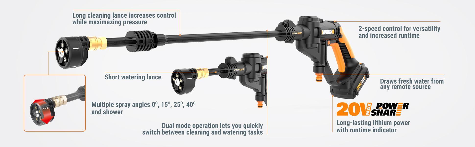 Worx Cordless Hydroshot Portable Power Cleaner 20v Li Ion
