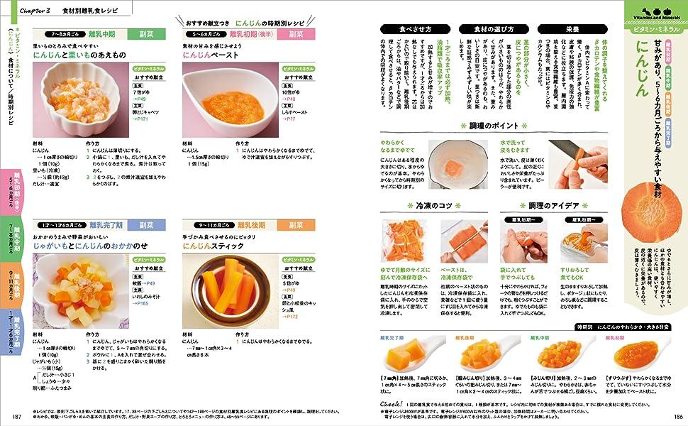 離乳食カレンダー 食材別レシピ にんじん 食材 離乳初期 離乳中期 離乳後期 離乳完了期 栄養 冷凍 フリージング 調理 ビタミン ミネラル 副菜 食材の選び方
